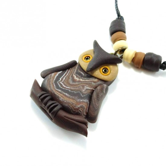 Collier hibou nature (brun)