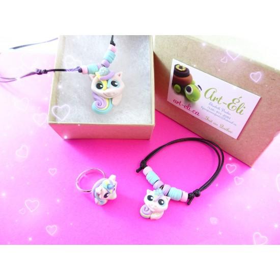 Ensemble cadeau LICORNE ( collier + bracelet +...