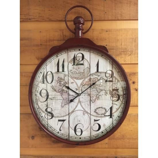 Horloge de Métal Map Monde /60x6x83 Disponible...