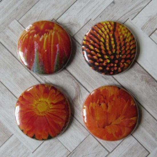 Badge texture- fleurs orange