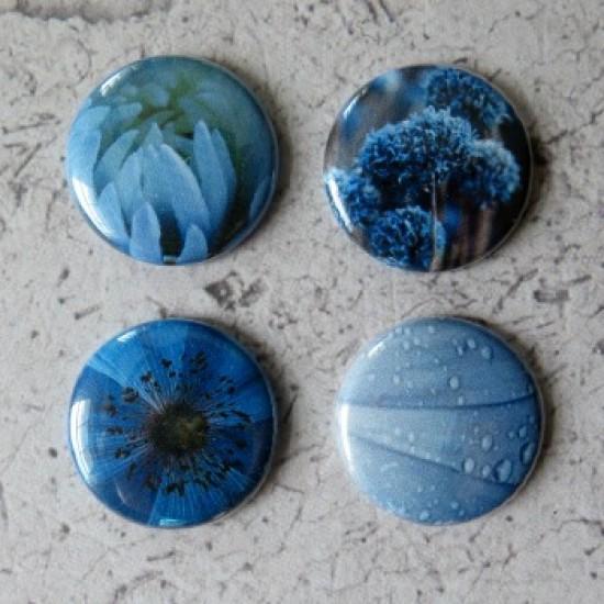 Badges texture-fleurs bleues