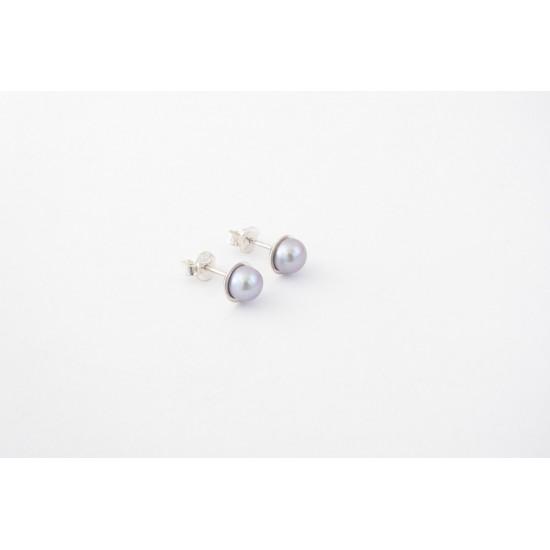 Boucles d'oreilles en argent avec perle de...