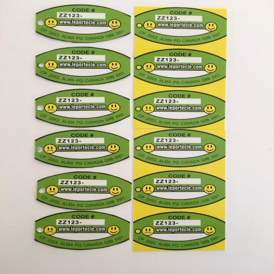 6 Porteclés de Base (Laminés) + 6 Autocollants