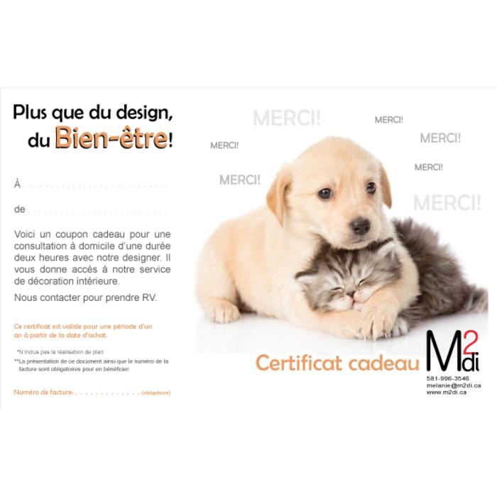 Certificat cadeau m2di for Cadeau decoration interieur