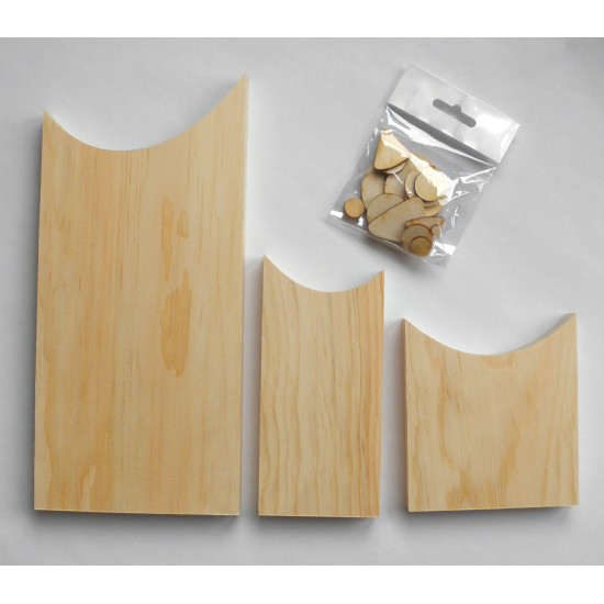 Trio de hiboux - Pièce de bois