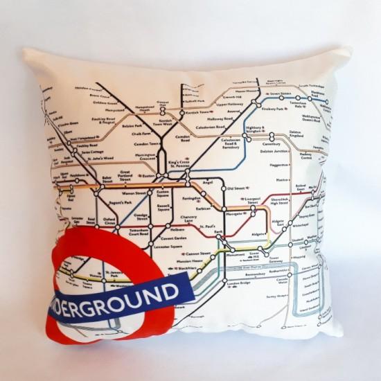 Coussin ''Stations du Underground'' Londres - 18 x18