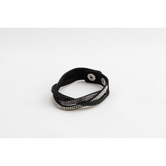 Bracelet en cuir noir et prune