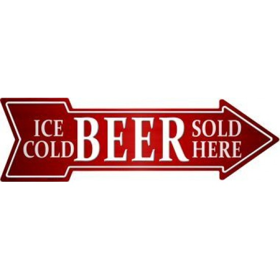 Ice Cold Beer Sold Here  Novelty Metal Arrow Sign...