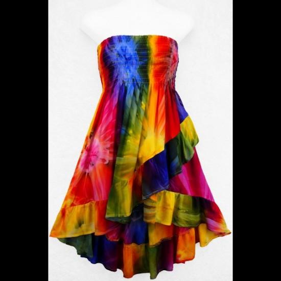 Tie-Dye Ruffled Convertible Top/Skirt (MAUVE-BLEU)...