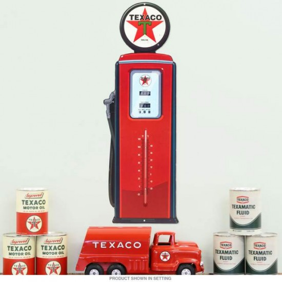 Texaco Gas Pump Embossed Tin Thermometer Sign