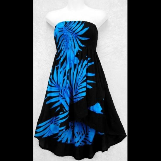 Palm Ruffled Convertible Top/Skirt (L) BLEU
